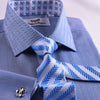 B2B Shirts - New Arrival Blue Herringbone Formal Business Dress Shirt Stylish Luxury Fashion Apparel in French Cuffss - Business to Business