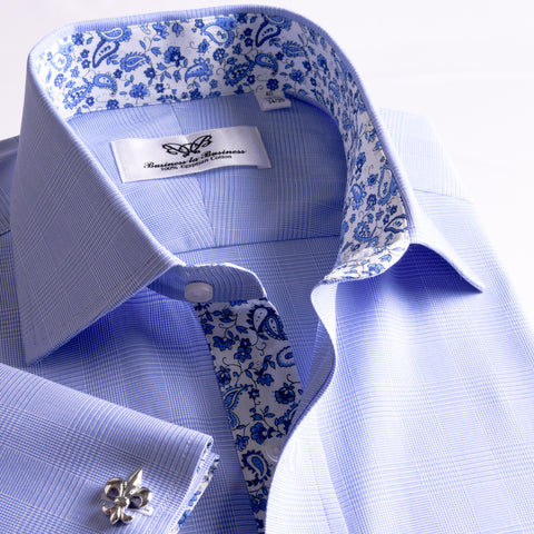 B2B Shirts - New Arrival Light Blue Checks On Twill Formal Business Dress Shirt With Fashion Inner-Lining - Business to Business