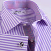B2B Shirts - Lilac Herringbone Twill Herringbone Formal Business Dress Shirt Striped Luxury Fashion - Business to Business