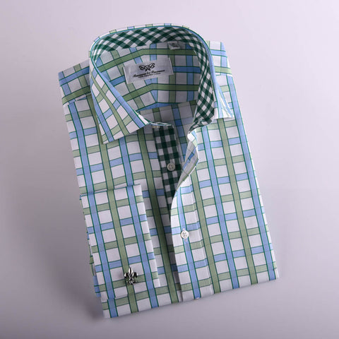 B2B Shirts - Big Blue Green Gingham Check Formal Business Dress Shirt Designer Checkered Inner Lining - Business to Business