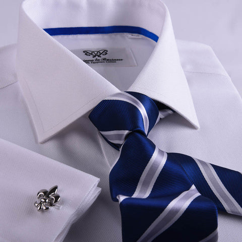 B2B Shirts - Best Soft White Oxford Professional Dress Shirt in Double French Cuff in All Sizes - Business to Business
