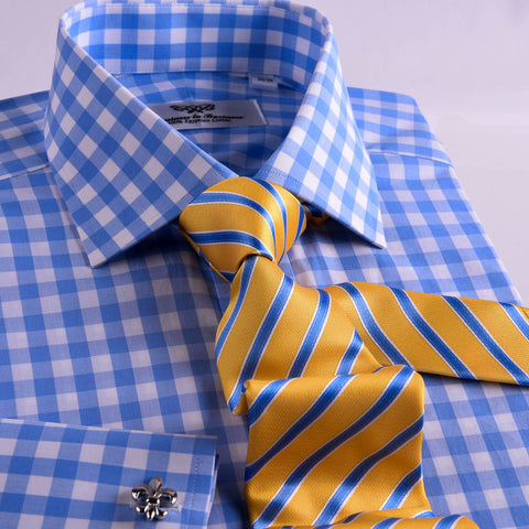 B2B Shirts - Blue & White Gingham Check Formal Business Dress Shirt Exclusive Double Cuffs Fashion A+ - Business to Business