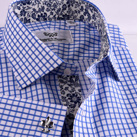 B2B Shirts - Blue Checks On Twill Formal Business Dress Shirt With Fashion Inner-Lining - Business to Business