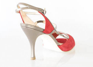 Size 9 - Tanja in Red Suede with Metallic Pewter Straps - Regina