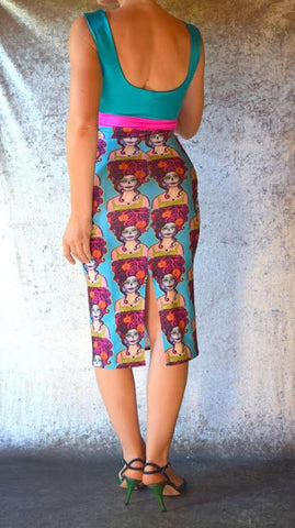 Teal and Pink Day of the Dead Wiggle Dress - Choose Your Size