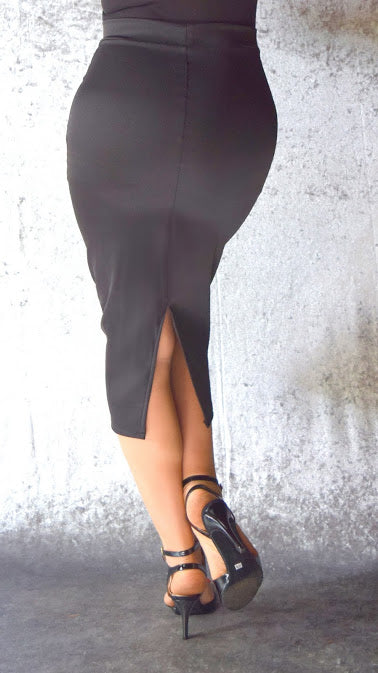 Pencil Skirt with Back Slit - Choose Your Color and Size – Maleva Shoes bad2f109071