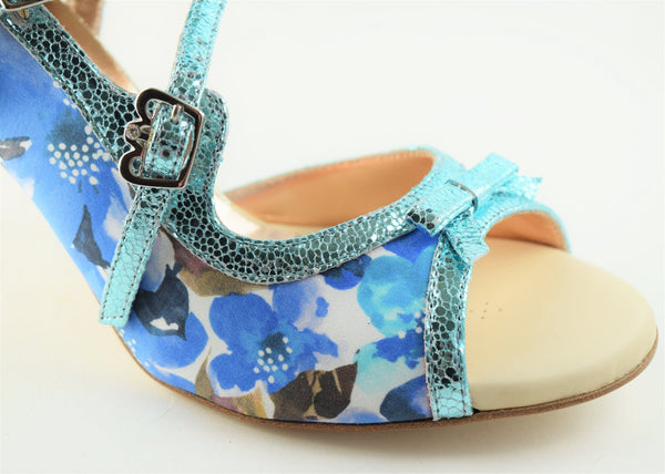 Size 8 (8.5) - Pigalle in Blue Floral with Metallic Blue Outlines - Regina