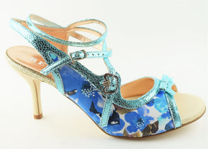 Size 8.5 - Pigalle in Blue Floral with Metallic Blue Outlines - Regina