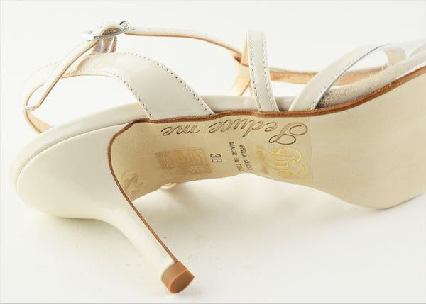 Size 8 - Oriental Pearl Slim in Cream Patent and Transparent - Regina