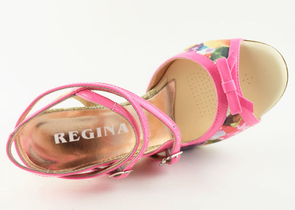 Size 9 - Pigalle Slim in Floral with Hot Pink Patent Outlines - Regina