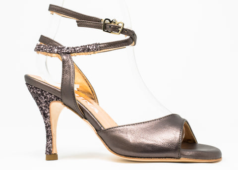 Size 6 - Nizza in Pearlized Pewter Leather with Pewter Glitter - Regina SALE!