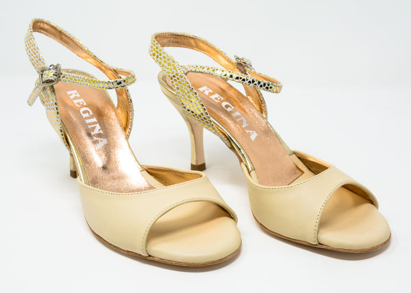Size 9 - Nizza in Cream Leather with Gold - Regina