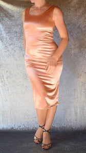 Peach Satin Spandex Wiggle Dress - Choose Your Size