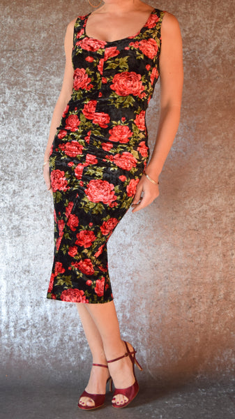 Ruched Red Roses Crushed Velvet Dress - Choose Your Size