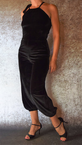 Velvet Halter Jumpsuit - Maleva Lounge - Choose Your Dress Size and Color