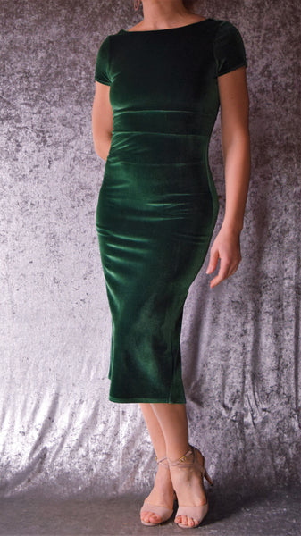 High Neckline Velvet Dress with Fishtail and Cap Sleeves (Shown in Hunter Green) - Choose Your Size and Color