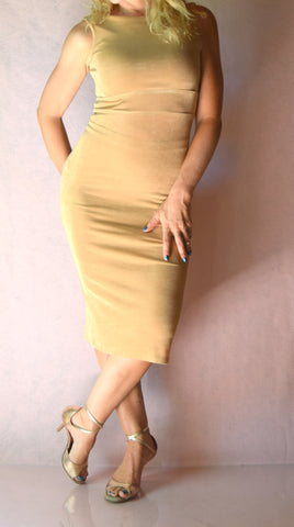 Beige Slinky High Neckline Wiggle Dress - Choose Your Size
