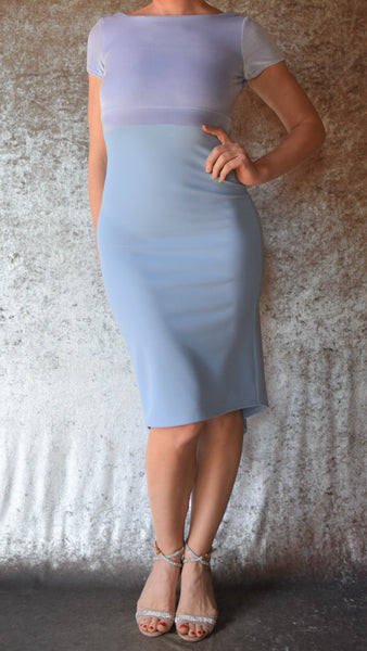 Periwinkle Blue Velvet and Stretch Crepe High Neckline Fishtail Dress with Cap Sleeves - Choose Your Size