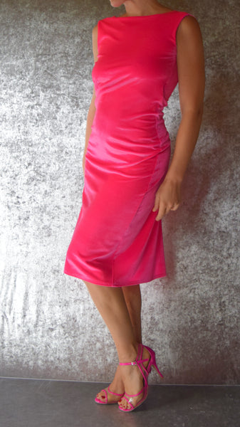 Solid Color Stretch Velvet Ultra Low Back Flared Dress - Choose Your Size and Color