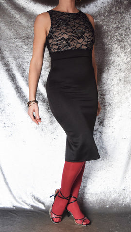 High Neckline Sleeveless Wiggle Dress with Lace Front Bodice and Cut-Out Back - Choose Your Size