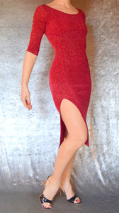 Glitter Slinky Side Slit Dress with Elbow Sleeves (Shown in Red) - Choose Your Size and Color