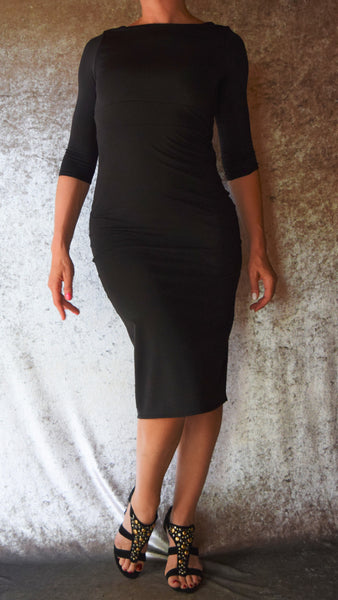 Black Spandex High Neckline Wiggle Dress with Sleeves - Choose Your Size