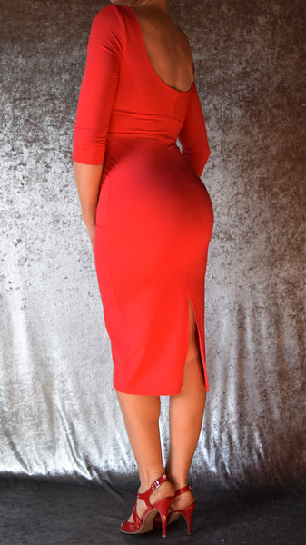 Solid Color Spandex High Neckline Wiggle Dress with Sleeves - Choose Your Size