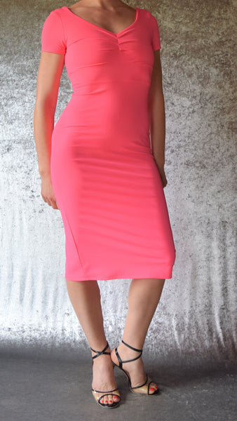 Hot Pink Pin-Tucked Neckline Wiggle Dress with Cap Sleeves - Choose Your Size
