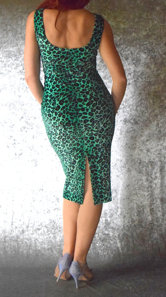 Pastel Cheetah Velvet High Neckline Wiggle Dress - Choose Your Size and Color
