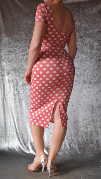 Pretty Woman Polka Dot Wiggle Dress with Short Sleeves - Choose Your Size and Color