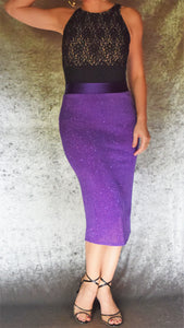 Ruched Back Glitter Slinky Skirt (Shown in Purple) - Choose Your Size and Color