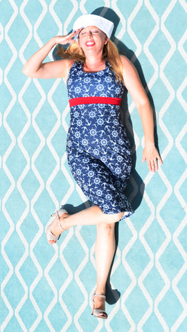 Anchors Away! Nautical Navy Blue Scoop Neck Wiggle Dress - Choose Your Size