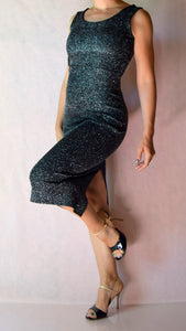 Glitter Slinky Scoop Neck Sleeveless Wiggle Dress - Choose Your Size and Color