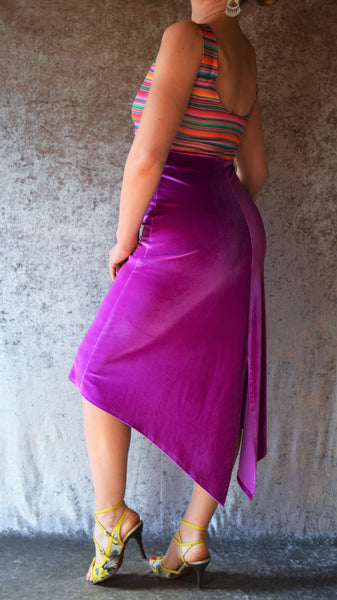 Fiesta Stripes with Orchid Velvet Fishtail Dress - One of a Kind - Small