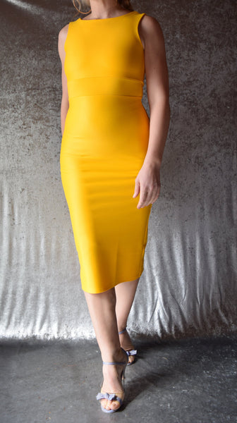 Daffodil Yellow High Neckline Wiggle Dress - Choose Your Size / Sleeve Style