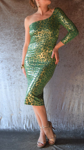Slinky Green and Gold Snakeskin One Shoulder Wiggle Dress - One of a Kind - Size Small