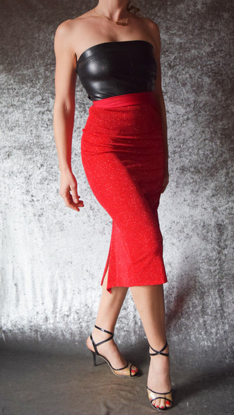 Ruched Back Glitter Slinky Skirt (Shown in Red) -  Choose Your Size and Color