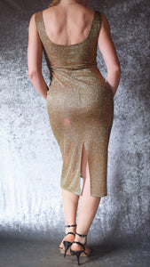 Gold Glittery Iridescent Wiggle Dress - Choose Your Size