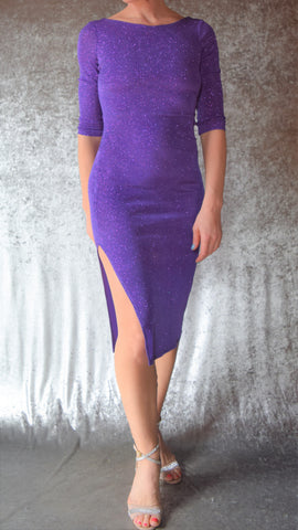 Glitter Slinky Side Slit Dress with Elbow Sleeves (Shown in Violet) - Choose Your Size and Color
