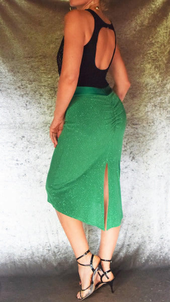 Ruched Back Glitter Slinky Skirt (Shown in Green) -  Choose Your Size and Color