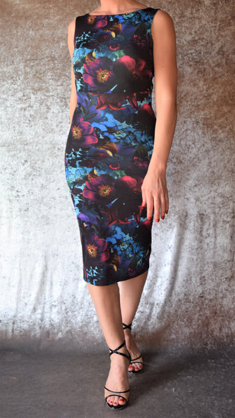 Mystic Night Moody Floral High Neckline Wiggle Dress (Shown in Blue) - Choose Your Size and Color