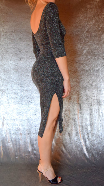 Glitter Slinky Side Slit Dress with Elbow Sleeves (Shown in Black) - Choose Your Size and Color