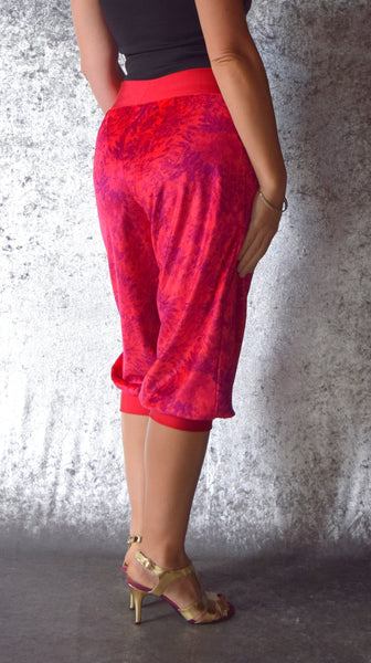 Magenta and Violet Abstract Floral Print Velour Harem Pants - One of a Kind