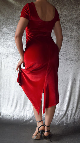High Neckline Velvet Dress with Fishtail and Cap Sleeves (Shown in Red) - Choose Your Size and Color