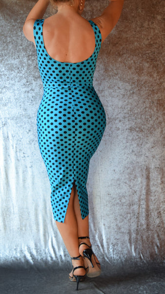Solid Polka Dot High Neckline Wiggle Dress - Choose Your Size and Color