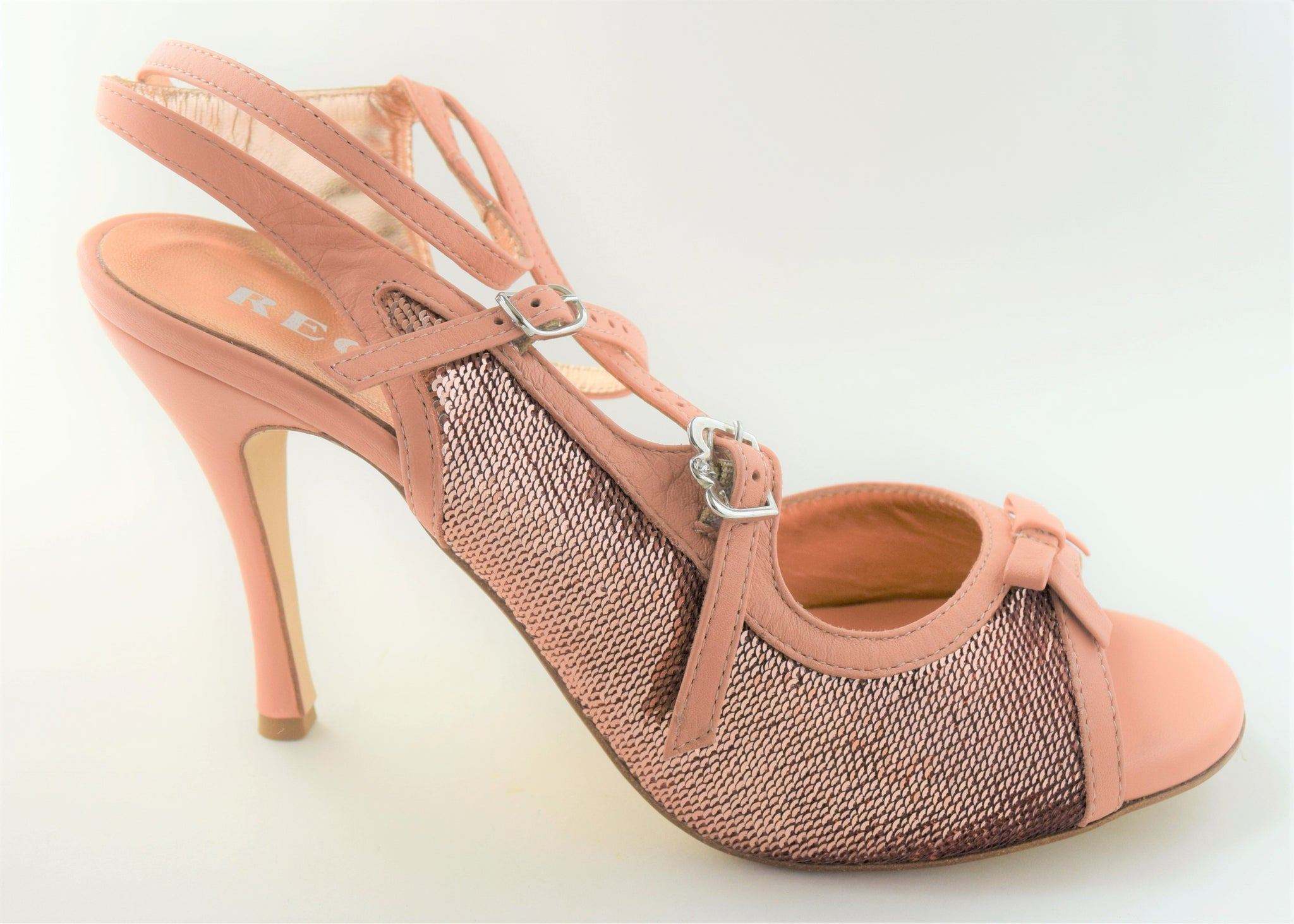 Size 10 - Pigalle in Rose Gold Sequins with Peachy Pink Leather Outlines - Regina