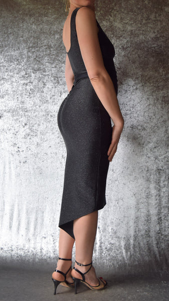 Glitter Spandex Fishtail Dress with Ruched Neckline and Back - Choose Your Size and Color