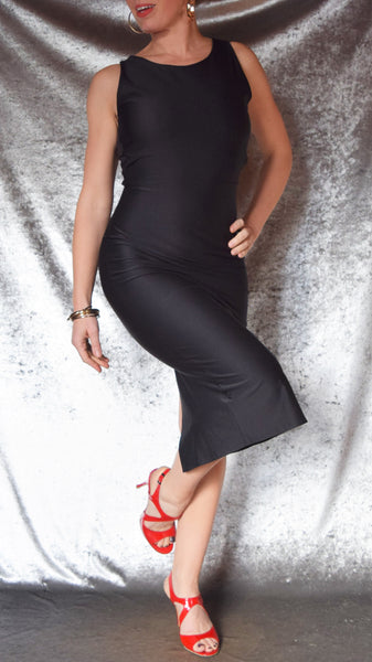 Solid Color High Neckline Sleeveless Wiggle Dress with Cut-Out Back - Choose Your Size and Color