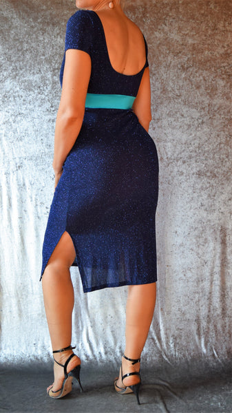 Midnight Blue Glitter Slinky Side Slit Dress with Cap Sleeves - Choose Your Size