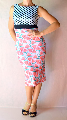 Watermelon and Polka Dot High Neckline Wiggle Dress - Choose Your Size
